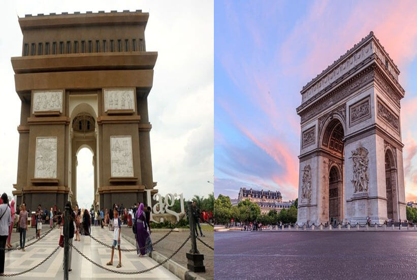 Landmark to Simpang Lima gumul landmark, Kediri = Arc De Triomphe, Paris